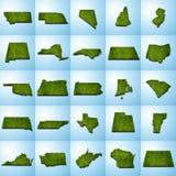 US-Staats-Karten stellten II ein Lizenzfreies Stockbild