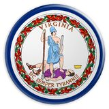 US-Staats-Knopf: Illustration Virginia Flag Badges 3d auf weißem Hintergrund lizenzfreie abbildung