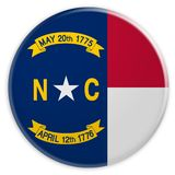 US-Staats-Knopf: Nord-Illustration Carolina Flag Badges 3d auf weißem Hintergrund stock abbildung