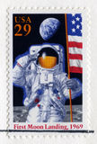 US Stamp Celebrating the 25th Anniversary of the First Moon Land Royalty Free Stock Image