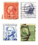US Stamps. A collection of vintage US stamps with US Presidents George Washington Stock Photo