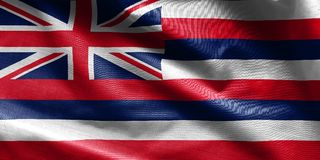US state flag of Hawaii - waving fabric background, wallpapers, royalty free stock photo