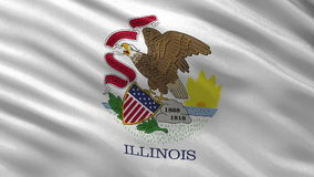 US state flag of Illinois - seamless loop. US state flag of Illinois gently waving in the wind. Seamless loop with high quality fabric material stock footage