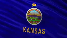 US state flag of Kansas - seamless loop stock footage