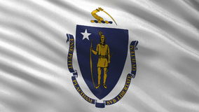 US state flag of Massachusetts - seamless loop. US state flag of Massachusetts gently waving in the wind. Seamless loop with high quality fabric material stock video