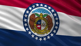 US state flag of Missouri seamless loop stock video footage