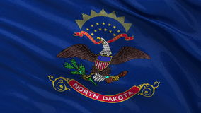 US state flag of North Dakota - seamless loop. US state flag of North Dakota gently waving in the wind. Seamless loop with high quality fabric material stock video footage