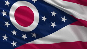 US state flag of Ohio - seamless loop. US state flag of Ohio gently waving in the wind. Seamless loop with high quality fabric material stock video footage