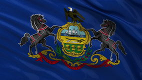 US state flag of Pennsylvania - seamless loop. US state flag of Pennsylvania gently waving in the wind. Seamless loop with high quality fabric material stock video footage