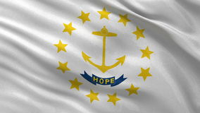 US state flag of Rhode Island seamless loop. US state flag of Rhode Island gently waving in the wind. Seamless loop with high quality fabric material stock footage