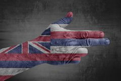 US State Hawaii flag painted on male hand like a gun. Isolated royalty free stock photo