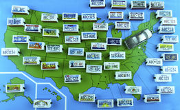 US State License Plates on Map with Sedan Royalty Free Stock Photos