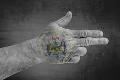 US State Maine Seal flag painted on male hand like a gun stock images