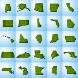 US State Maps Set I vector illustration