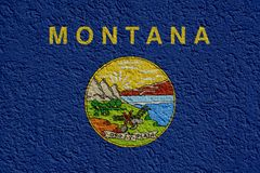 US State Politics Or Business Concept: Montana Flag Wall With Plaster, Texture vector illustration