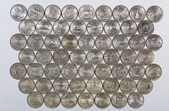 Numismatic collection of commemorative quarters of the United States and Territories Royalty Free Stock Image