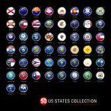 US States Flags Round Badges. All 50 Flags of the US States in a Single Vector File. Realistic 3D Glossy Buttons. With Metal Frames on a Black Background Royalty Free Stock Photos