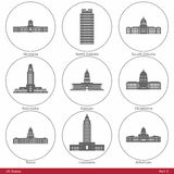 US States - symbolized by the State Capitols Part2. American capitol building silhouettes. The set has six parts, and contains the fifty US State capitol Stock Image
