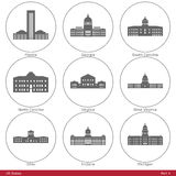 US States - symbolized by the State Capitols Part4. American capitol building silhouettes. The set has six parts, and contains the fifty US State capitol Stock Photos