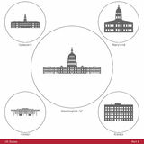 US States - symbolized by the State Capitols Part6 vector illustration