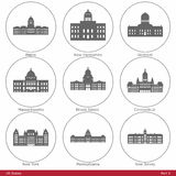 US States - symbolized by the State Capitols (Part Royalty Free Stock Photography