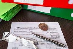 US-Steuerformular 1040 für Einzelperson Stockfotos