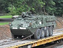 A US Stryker Armored Personnel Carrier. APC is transported on a Norfolk Southern Railroad line near Greenville SC on July 7 2018 stock photo