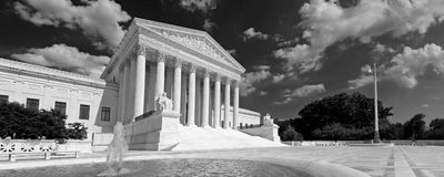 US Supreme Court. A black and white panorama of the front of the US Supreme Court in Washington, DC Stock Image