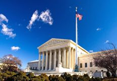 US Supreme Court Building. Bright, sunny day with blue sky at the US Supreme Court building in Washington, DC