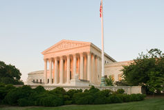 US Supreme Court Building. An evening glow of sunset on the US Supreme Court building in Washington, DC Stock Photos