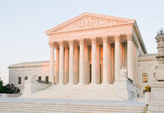 US Supreme Court Building. An evening glow of sunset on the US Supreme Court building in Washington, DC Royalty Free Stock Images