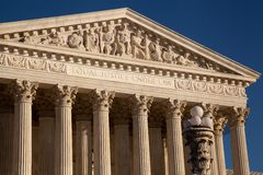 US Supreme Court closeup of details. Equal Justice Under Law is shown in the details of the architecture of the US Supreme Court of this closeup of the Greco Royalty Free Stock Photography