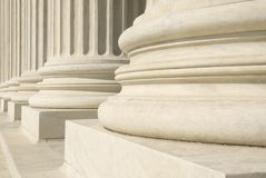 US Supreme Court - Columns. A row of columns at the entrance to the US Supreme Court in Washington, DC Stock Photo