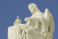 US Supreme Court - The Contemp. The statue called Contemplation of Justice at the entrance to the US Supreme Court in Washington, DC Stock Images