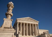 US Supreme Court with LEX and Justice and perspective Royalty Free Stock Photography