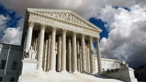 US Supreme Court Moving Clouds. United States Supreme Court building with time lapse moving clouds