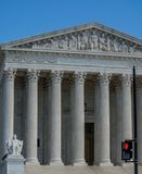 US Supreme Court with red light stock images