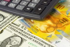 US and Swiss currency. Pair commonly used in forex trading with calculator