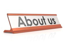About us table tag Stock Images