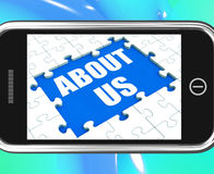About Us Tablet Shows Contact. About Us Tablet Showing Contact And Company Philosophy Section Royalty Free Stock Photos
