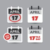 Set of USA Tax Day Reminder Concept Icons, Calendar Design Templates - Tax Deadline, Due Date for Federal Income Tax Returns 2018. US Tax Deadline Calendar Royalty Free Stock Photography