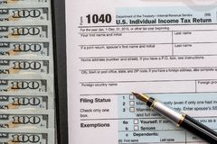 Us tax form with money royalty free stock images
