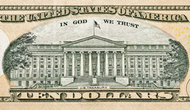 US Treasury on back of ten dollar bill Stock Images