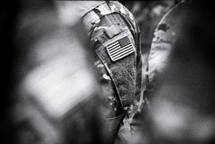 US troops. US soldiers. US army. BW.  royalty free stock photos