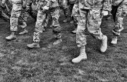 US troops. US soldiers. US army. BW.  stock images