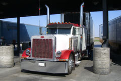 US trucks at a gas station Stock Image