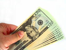 US Twenty Dollar Bills & Hand Royalty Free Stock Photos