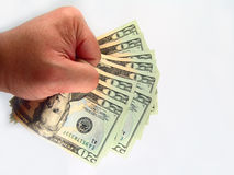 US Twenty Dollar Bills & Hand Stock Photo