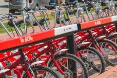 Usługowi pojazdów bicykle Vodafone Bicing, rowerowy dzieli sys Fotografia Stock