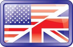 Us and Uk Flag Icon. English Stock Photo